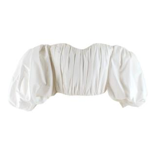 Ellery White Puff Sleeve Pleated Bustier Top