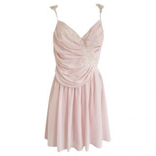 Zimmermann Blush Silk Wrap Style Lace Trim Mini Dress