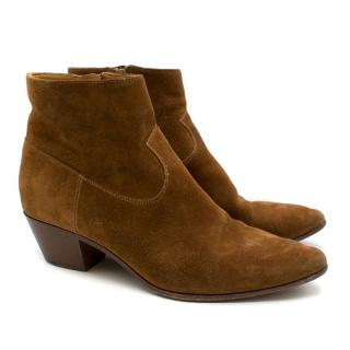 Saint Laurent Tan Suede Cowboy Ankle Booties