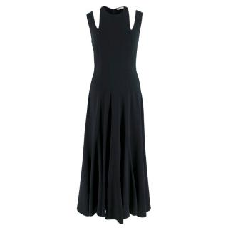 Tome Black Godet Crepe Midi Dress