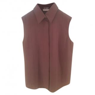 Hermes rich brown silk sleeveless top