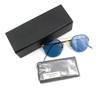Thom Browne Blue Round Aviator Sunglasses