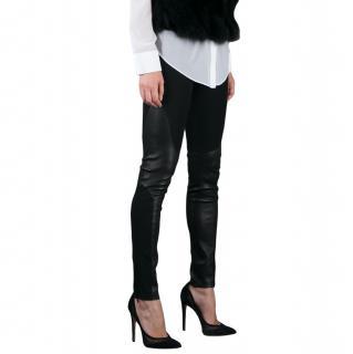 Joseph black cotton blend leather panel leggings