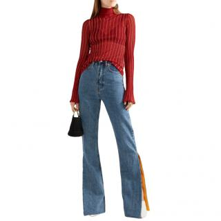 Ellery Urchin Sheer Knit Red and Gold Turtleneck Top
