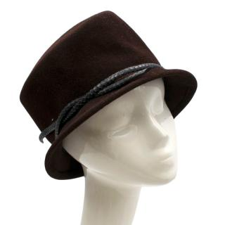 Philip Treacy Velour Brown Hat with Snake Style Rim Tie