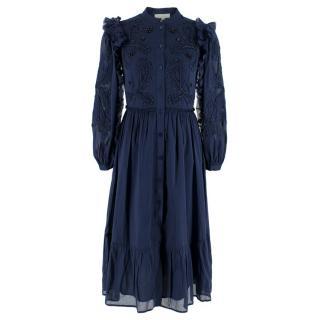 Michael Michael Kors Navy Blue Collarless Shirt Dress