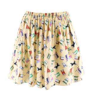 Miu Miu Yellow Flag Print Circle Skirt