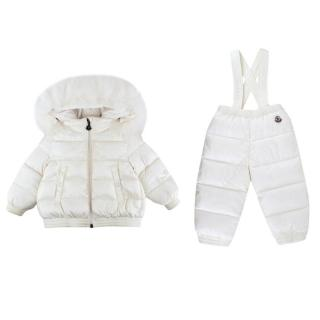 Kids Moncler White Down Padded Fur Trimmed Snowsuit