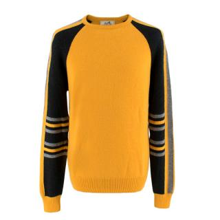 Hermes Mustard Yellow Cashmere Blend Crew Neck Jumper
