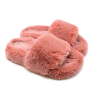 Zizi Donohoe Pink Saga Mink Fur Sliders