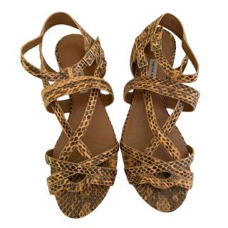 Tabitha Simmons Snake Print Sandals