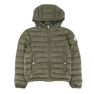 Kids Moncler Lightweight Puffer Jacket in Army Green
