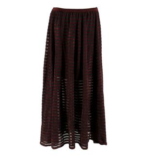 Ronny Kobo Black and Wine Striped Knit Maxi Skirt