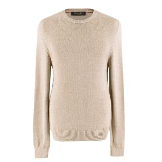 Loro Piana Sand Knitted Crew Neck Jumper