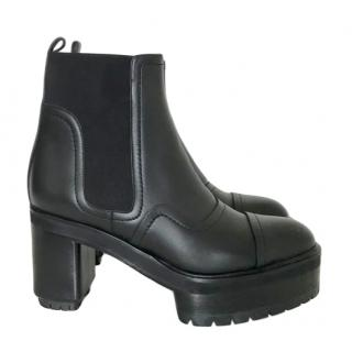 Hermes chunky black leather ankle boots