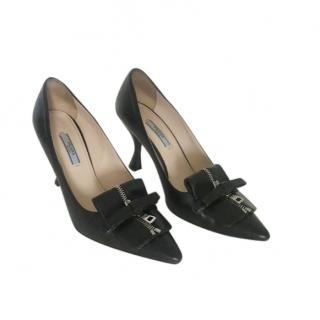 Prada Black Leather Zip Detail Pumps