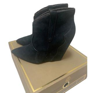 ASH Navy Suede Wedge Boots