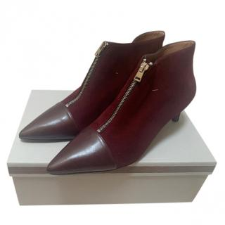 Marni Zip Front Leather & Suede Burgundy Ankle Boots