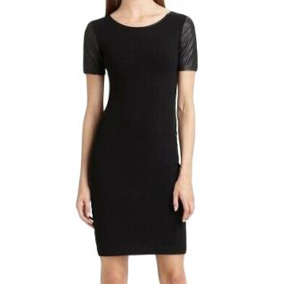 Theory Black Leilana Jersey & leather Dress