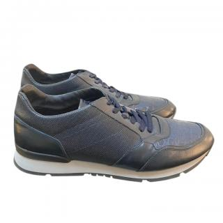 Armani dark blue leather and canvas sneakers