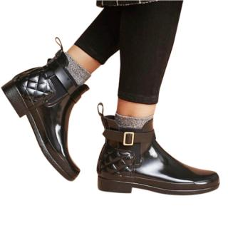 Hunter Black Quilted Gloss Ankle Boots