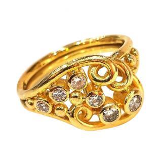Martin White of Tedbury Woven Diamond Ring in Yellow Gold