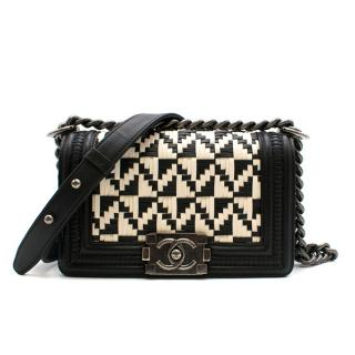Chanel Limited Edition Black & White Calfskin Woven Small Boy Bag