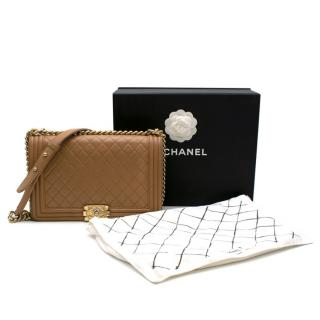 Chanel Tan Lambskin Quilted Large Boy Bag