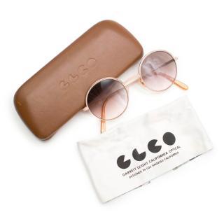 Garret Leight California Pink Round Sunglasses