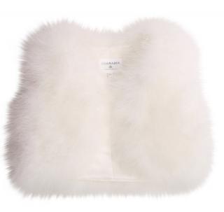 Charabia White Sleeveless Feather Jacket