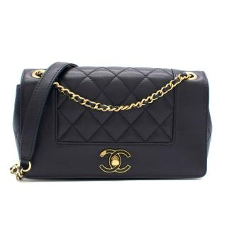 Chanel Navy Leather Timeless Diana Flap Bag
