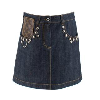 Louis Vuitton Denim Skirt with Studded Leather Pocket