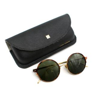 Linda Farrow Round Tortoiseshell Gold-Tone Sunglasses