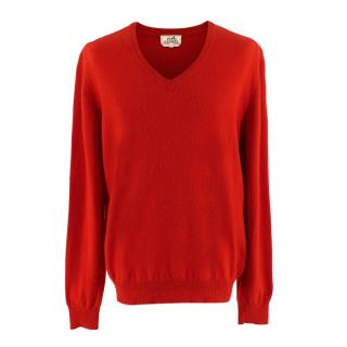 Hermes Red V-Neck Cashmere Jumper