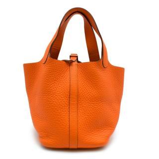 Hermes Clemence Leather Orange Poppy Picotin Lock 18
