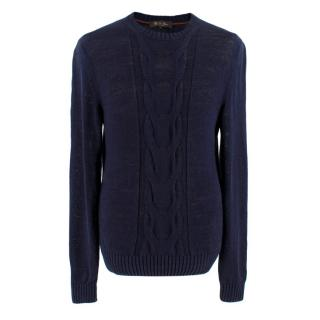 Loro Piana Navy Linen Cable Knit Jumper
