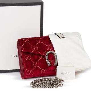 Gucci Red Velvet Dionysus Wallet On Chain