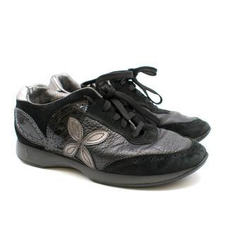 Louis Vuitton Black Suede & Leather Floral Applique Trainers