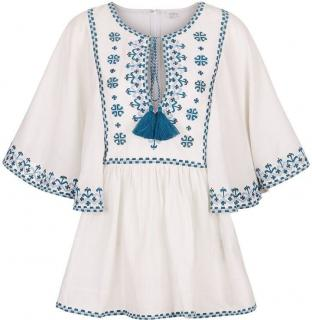 Talitha Ivory/Blue Embroidered Blouse