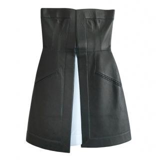Fendi Black & Pale Blue Leather Strapless A-Line Dress