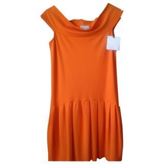 Red Valentino Orange Off Shoulder Pleated Dress