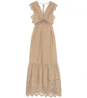 Self Portrait Taupe Broderie Anglaise Maxi Dress