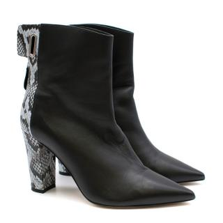 Self Portrait Leather & Snake Print Tie Back Ankle Boots