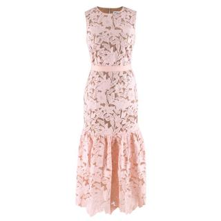 Self Portrait Pink & Nude Floral Embroidered Sleeveless Dress