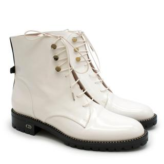 Dior White Glazed Calfskin Combat Boots