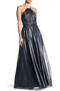 Vera Wang Dress Metallic Chiffon Halterneck Gown