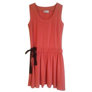 Red Valentino Coral Drawstring Shift Dress