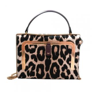 Anya Hindmarch Leopard Print Calf Hair Postbox Bag