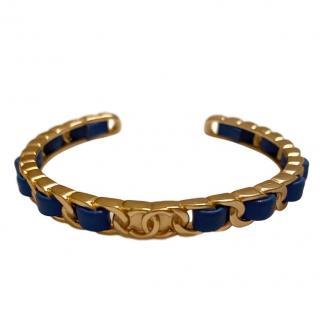 Chanel Blue Calfskin Open Chain CC Bracelet