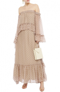 Amur Off The Shoulder Ruffled Polka-Dot Silk Maxi Dress